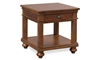 Traditional whiskey brown end table with storage drawer and shelf