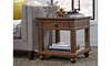 Traditional whiskey brown end table with storage drawer and shelf in living room