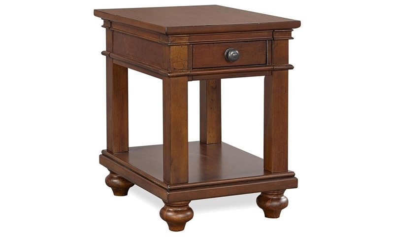 Traditional whiskey brown side table with storage drawer and shelf