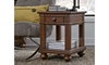 Traditional whiskey brown side table with storage drawer and shelf in living room