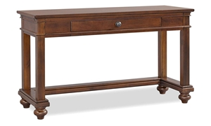 Traditional whiskey brown sofa table with storage drawer