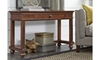 Traditional whiskey brown sofa table with storage drawerin living room