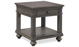 Traditional peppercorn gray end table with storage drawer and shelf