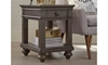 Traditional peppercorn gray side table with storage drawer and shelf in living room