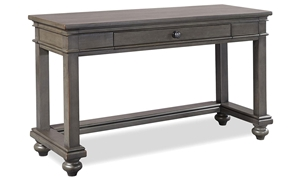 Traditional peppercorn gray sofa table with storage drawer
