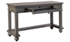 Traditional peppercorn gray sofa table with open storage drawer