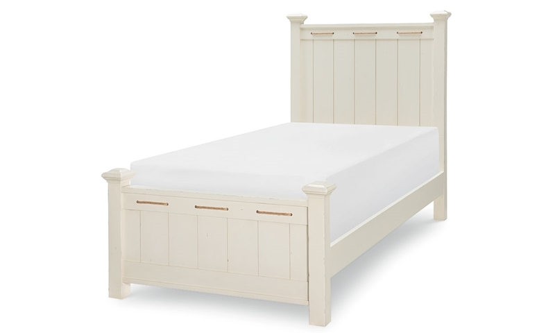 Legacy Classic Lakehouse Twin Low Post Bed Pebble White