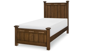Legacy Classic Lakehouse Twin Low Post Bed Cabin Brown