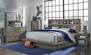 Queen bedroom set with platform bed, dresser with mirror and nightstand in greystone finish