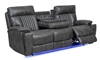 Theater style power sofa with open recliner, drop-down table and blue LED lights in charcoal gray upholstery