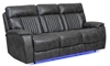 Theater style power sofa with recliner, drop-down table and blue LED lights in charcoal gray upholstery