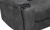 Close-up of hidden cupholder on power reclining transformer theater style sofa in charcoal gray upholstery