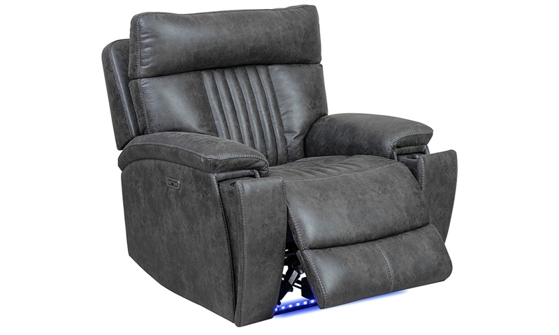 Open power recliner with blue LED lights in charcoal gray upholstery