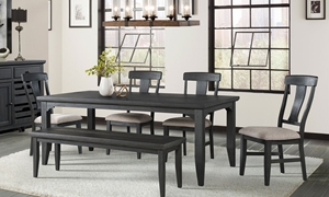 6-piece dining set with 72-inch farmhouse table, 60-inch seating bench and 4 chair with neutral upholstered cushions in oiled black finish