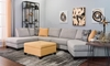 Living room with sectional sofa with right arm cuddler and 89-inch chaise and yellow ottoman