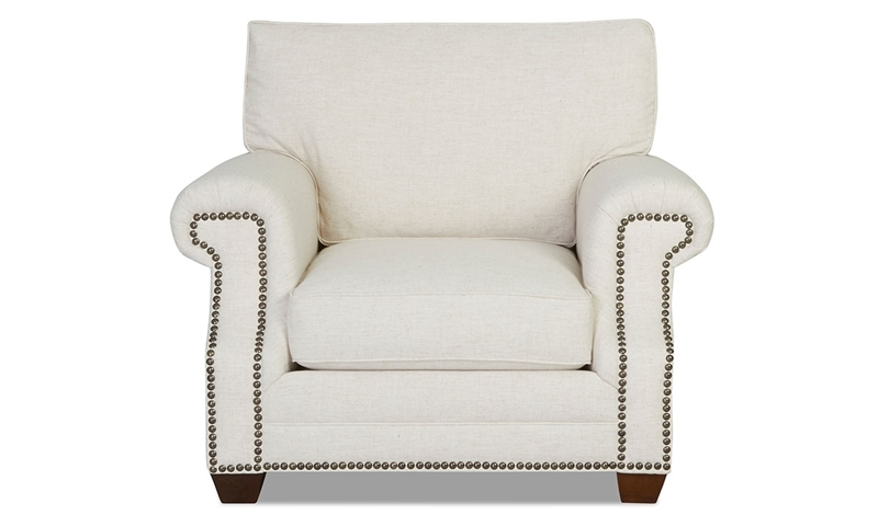 Classic accent chair in natural tone linen-blend upholstery with nailhead trim and roll arms - Front View