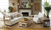 Living room set with classic sofa and accent chair in natural tone linen-blend sofa with nailhead trim and roll arms from Trisha Yearwood