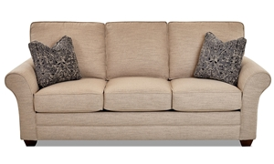 87-inch classic sofa with throw pillows in Isaac Sand upholstery from Klaussner - Front View