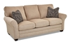 87-inch classic sofa with throw pillows in Isaac Sand upholstery from Klaussner - Side View