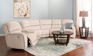 6-piece sectional with dual power recliners, power headrest, storage console and cupholders in cream stain-resistant upholstery