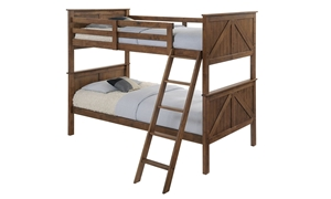 Twin bunkbed in rustic oak finish with ladder
