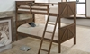Twin-over-twin bunkbed in rustic oak finish with ladder