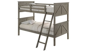 Twin bunkbed in weathered grey finish with ladder