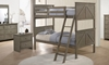 Twin-over-twin bunkbed in weathered grey finish with ladder