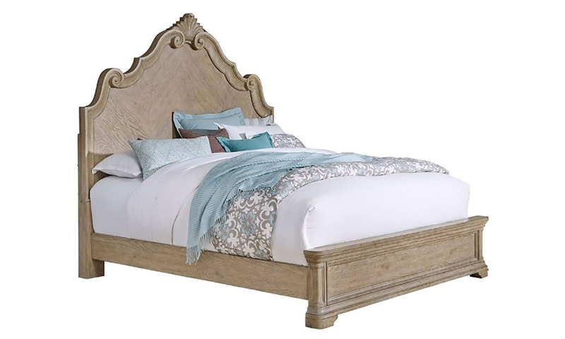 King panel bed with intricate scrollwork detailed headboard in sandcastle beige finish