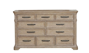 10-drawer dresser with English dovetail construction in sandcastle beige finish