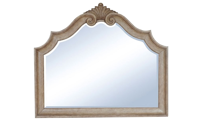 56-inch beveled mirror with detailed scrollwork in sandcastle beige finish