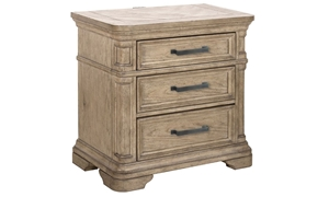 3-drawer nightstand with concealed USB charging ports in sandcastle beige