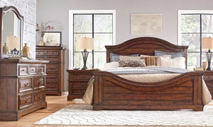Rustic queen bedroom set with panel bed, dresser with mirror and nightstand in warm tobacco brown finish