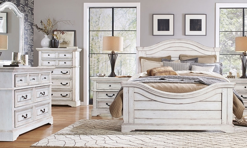 King bedroom set with panel bed, 7-drawer dresser with arched mirror, chest and nightstand in antique white finish
