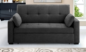 Contemporary pop-up sleeper sofa with button tufting in charcoal gray micro-suede upholstery
