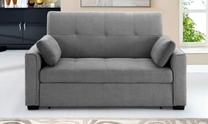 Contemporary pop-up sleeper loveseat with button tufting in light gray micro-suede upholstery