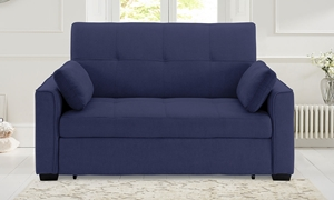 Contemporary pop-up sleeper loveseat with button tufting in navy blue micro-suede upholstery