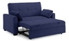 Contemporary sleeper loveseat extended with back up in navy blue micro-suede upholstery
