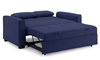 Contemporary sleeper loveseat fully extended into full-size bed in navy blue micro-suede upholstery