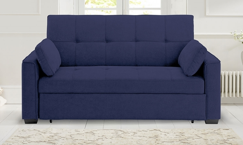 Contemporary pop-up sleeper sofa with button tufting in navy blue micro-suede upholstery