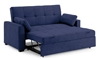 Contemporary sleeper sofa extended with back up in navy blue micro-suede upholstery