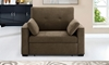 Contemporary pop-up sleeper chair with button tufting in cappuccino brown micro-suede upholstery