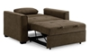 Contemporary sleeper chair fully extended into twin-size bed in cappuccino brown micro-suede upholstery