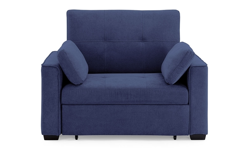 Contemporary pop-up sleeper chair with button tufting in navy blue micro-suede upholstery