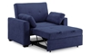 Contemporary sleeper chair extended with back up in navy blue micro-suede upholstery