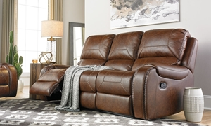 Buckeye Caramel Reclining Sofa with Nail Head Trim