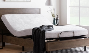 Gel memory foam mattress with grey velour cover on platform bed