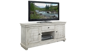 Rustic 60-inch entertainment console with storage cabinets and drawer in ivory finish