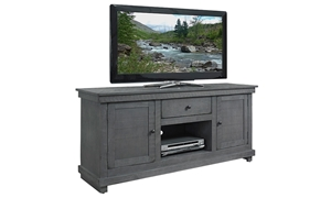 Casual 60-inch entertainment console with storage cabinets and drawer in grey finish