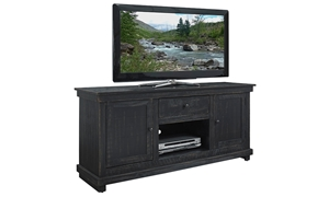 Casual 60-inch entertainment console with storage cabinet in black finish
